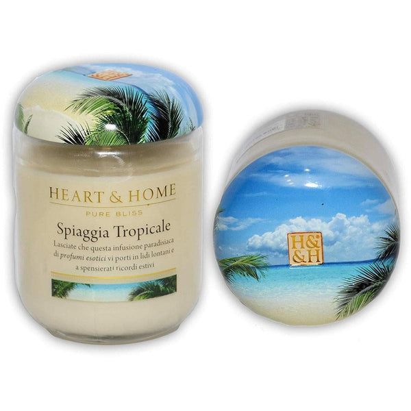 Candela Heart and Home SPIAGGIA TROPICALE in cera di soia 340gr - Dolcipensierigift