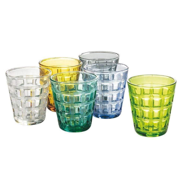 Recta Set 6 bicchieri acqua in vetro colorati 280 ml multicolor - Dolcipensierigift