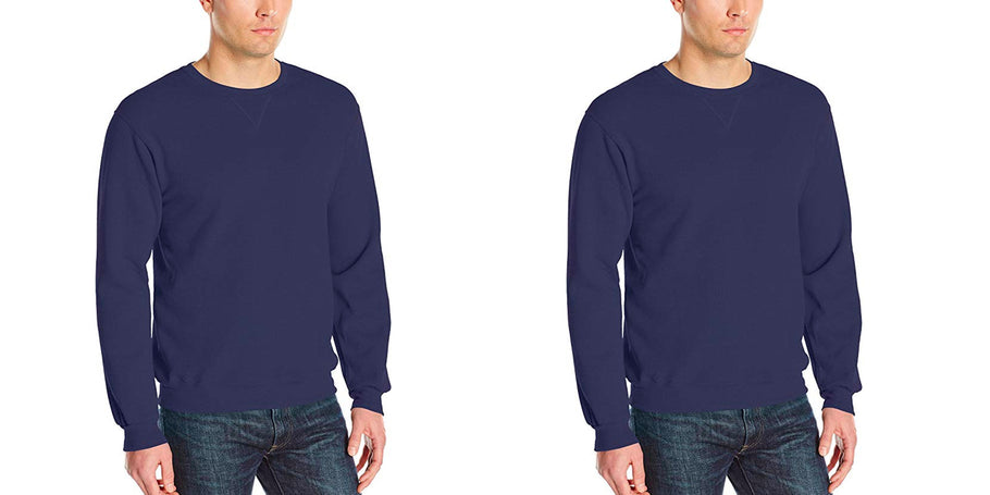 Amazon is offering the Fruit of the Loom Men's Fleece Crew Sweatshirt in Navy for $6.94 Prime shipped