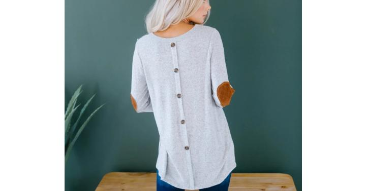 Button Back Relaxed Sweater – Only $19.99!