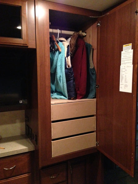 Most RVs and travel trailers have very limited wardrobe space