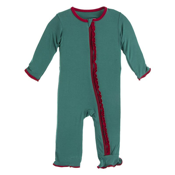 Ivy with Crimson Solid Muffin Ruffle Coverall with Zipper