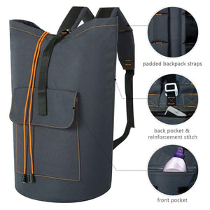 Budget wowlive extra large laundry bag laundry backpack hanging laundry hamper adjustable shoulder straps camping bag waterproof durable travel collage apartment dorm sports dark grey