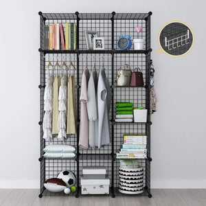 GEORGE&DANIS Wire Storage Cubes Metal Shelving Unit Portable Closet Wardrobe Organizer Multi-use Rack Modular Cubbies, Black, 14 inches Depth, 3x5 Tiers