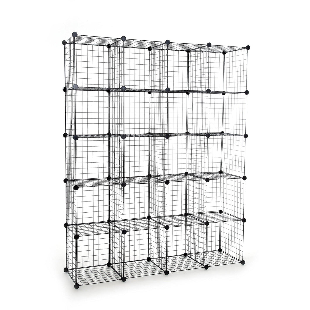 UNICOO - Multi Use DIY 20 Cube Wire Grid Organizer,Wardrobe Organizer, Bookcase, Book Shelf, Storage Organizer, Wardrobe Closet - (Black Wire)