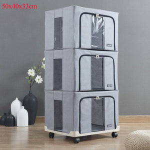 BUNDLE OF 3 [ 66L STORAGE BOX] Home Wardrobe Organizer Grey Stackable for Clothes/ Bedsheets / Blankets