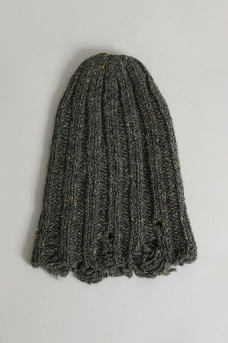 Distressed Chunky Hat - Olive