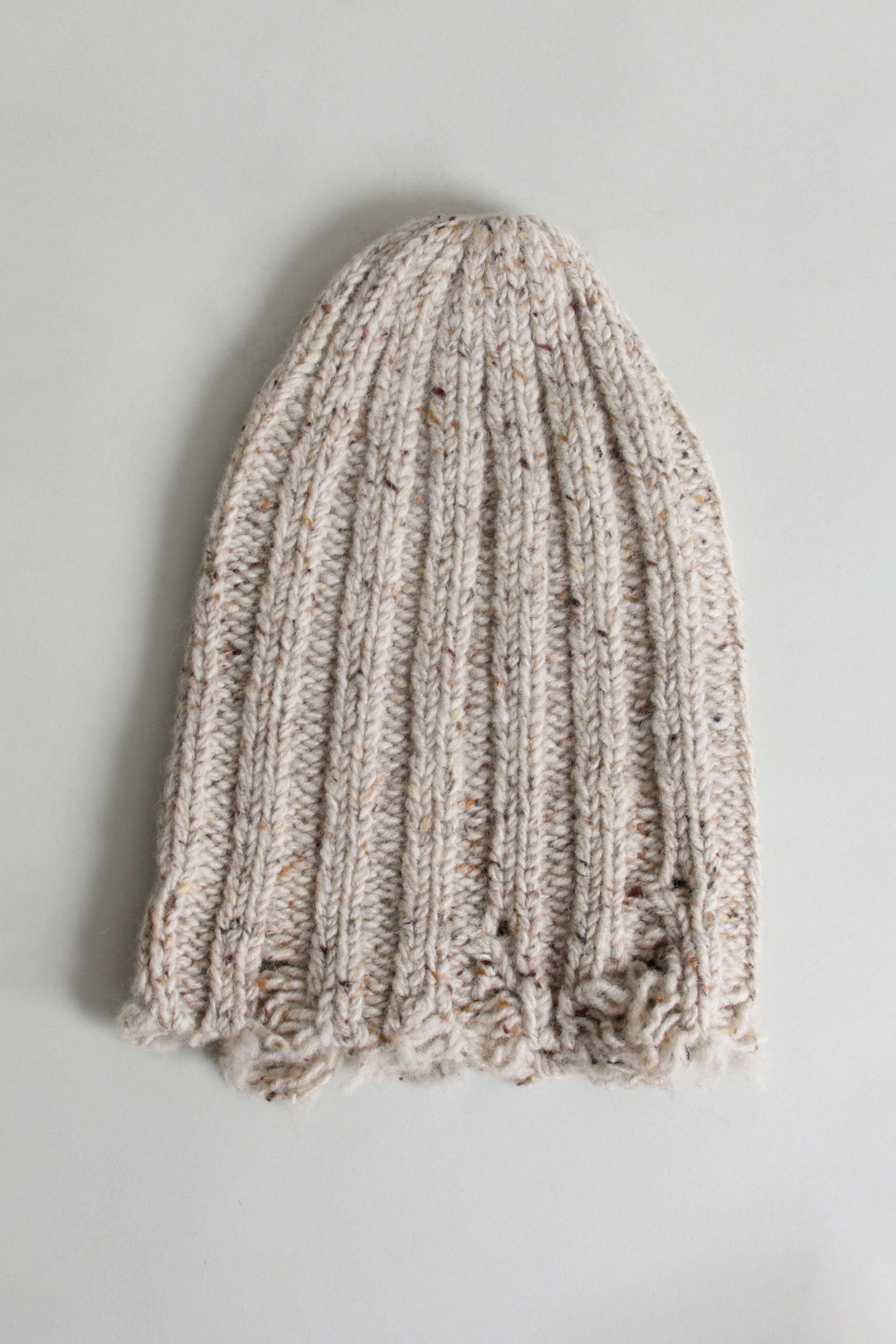 Distressed Chunky Hat - Ecru