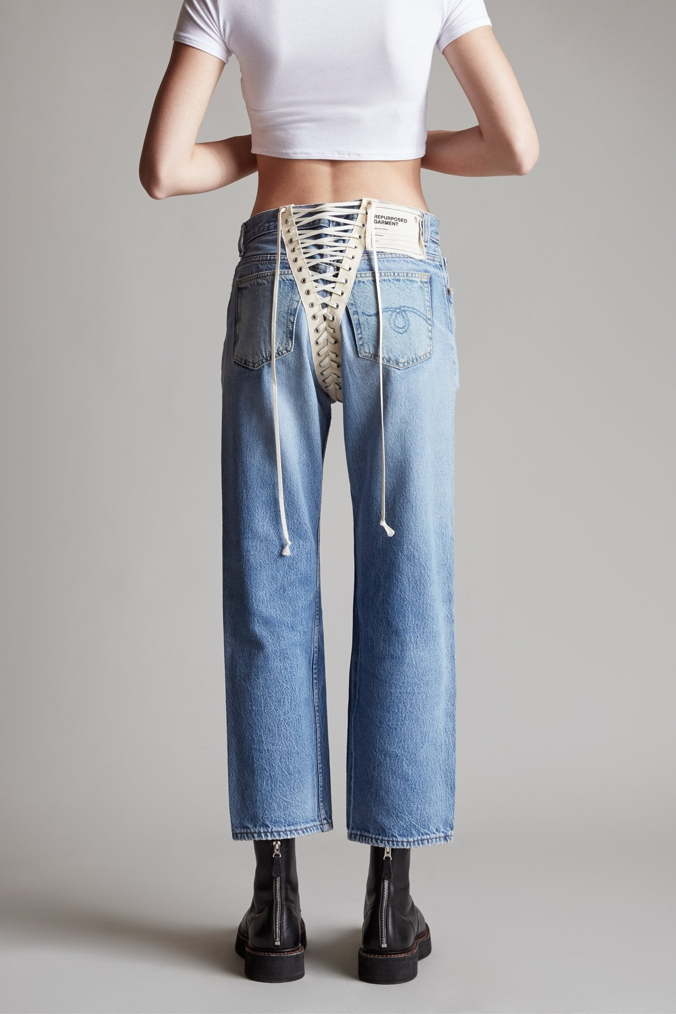 Refurbished Back Lace Up Jean - Vintage Indigo