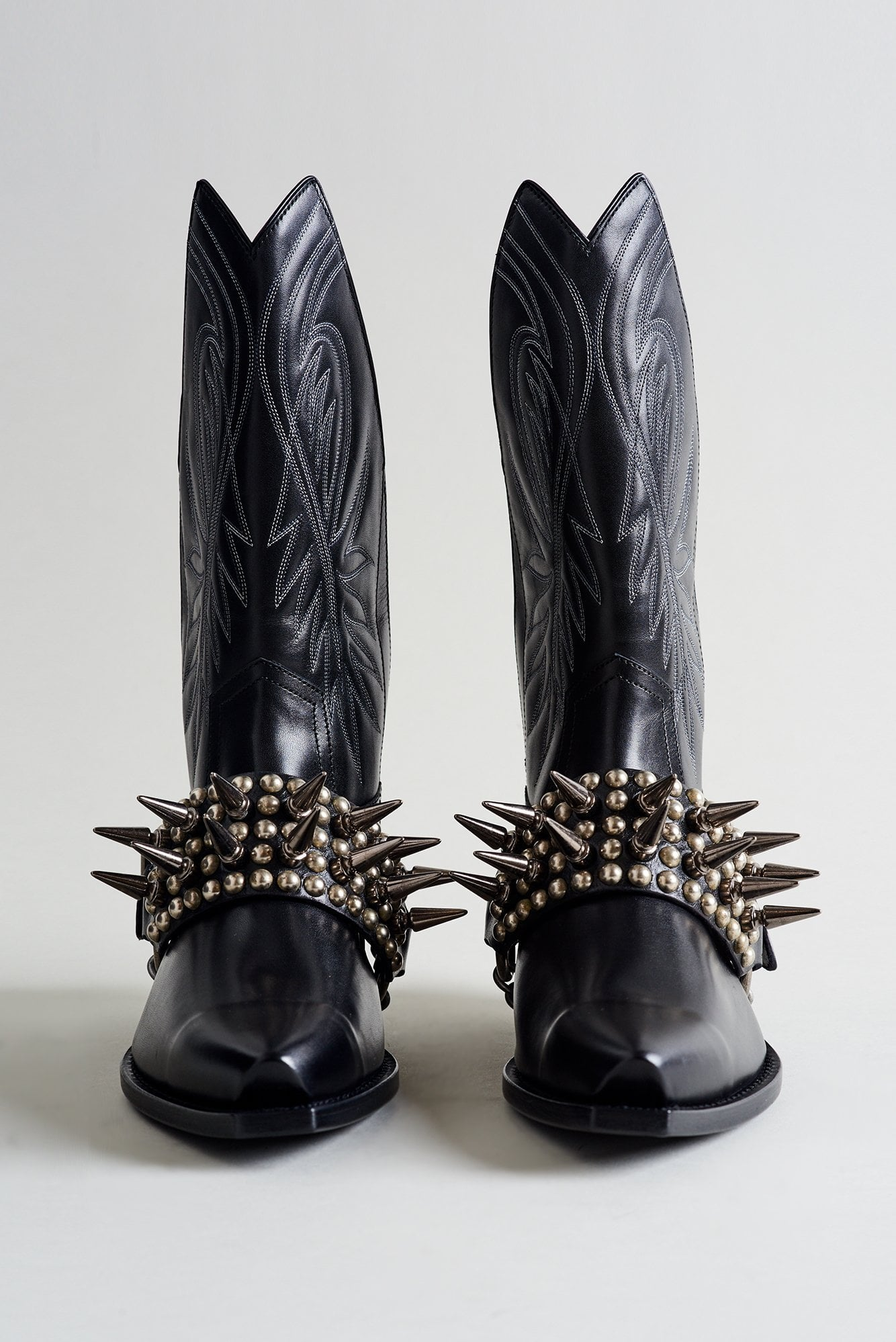 Half Tall Cowboy Boot with Studded Harness