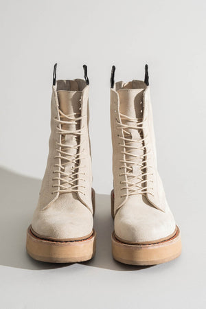 Suede Single Stack Lace-Up Boots