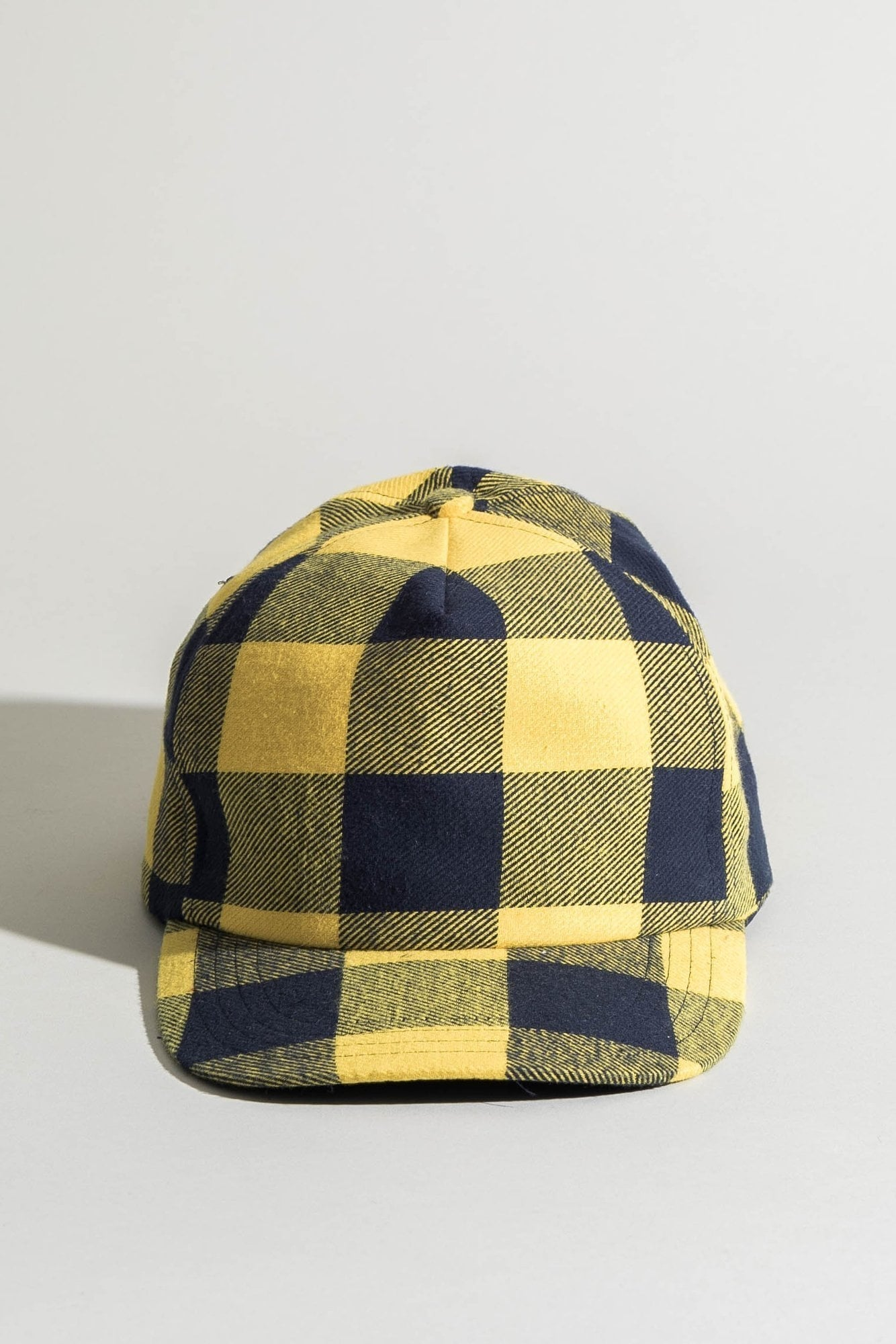 R13 Flat Brim Baseball Cap - Yellow/ Navy Buffalo