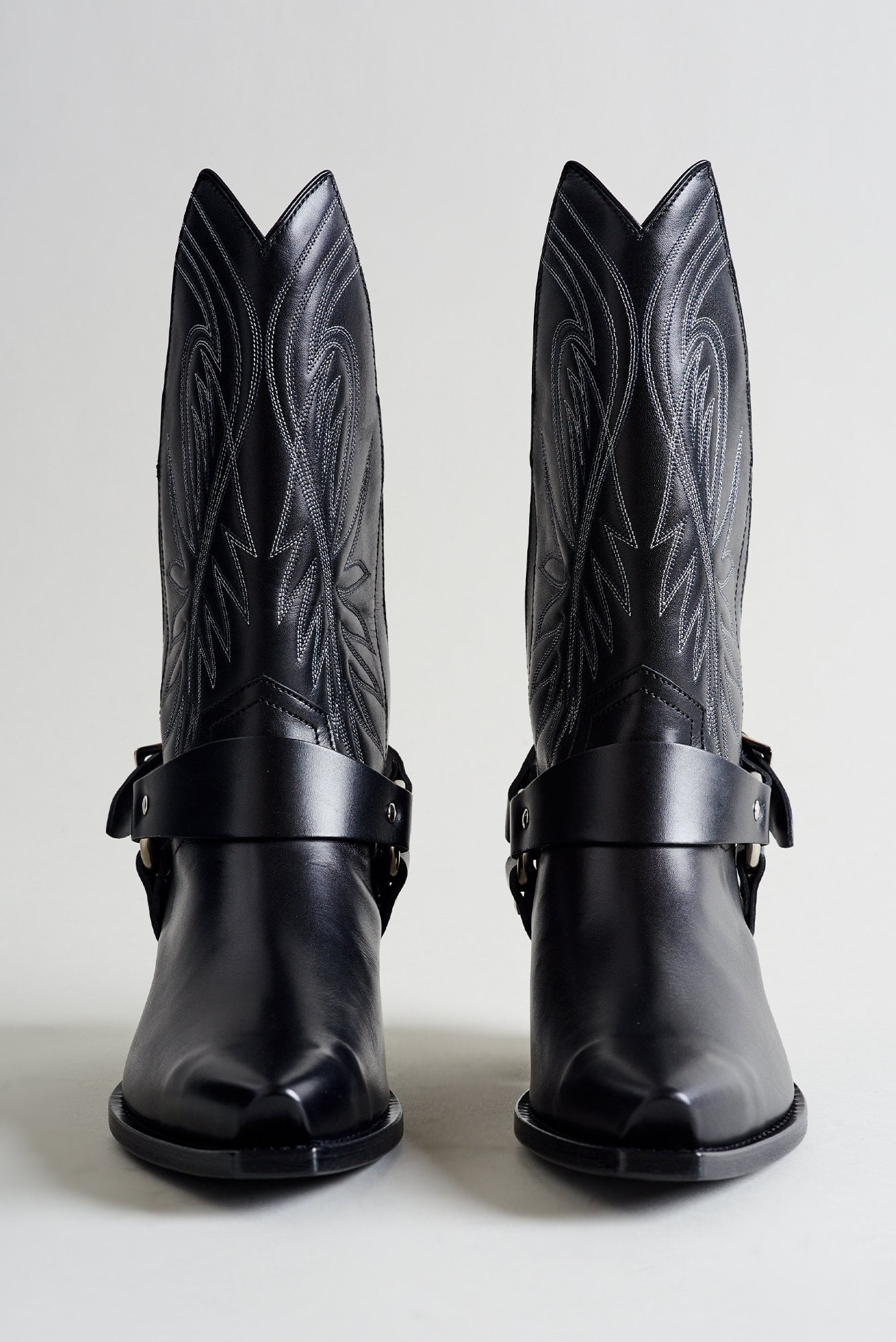 Half Tall Cowboy Boot with Harness- Black