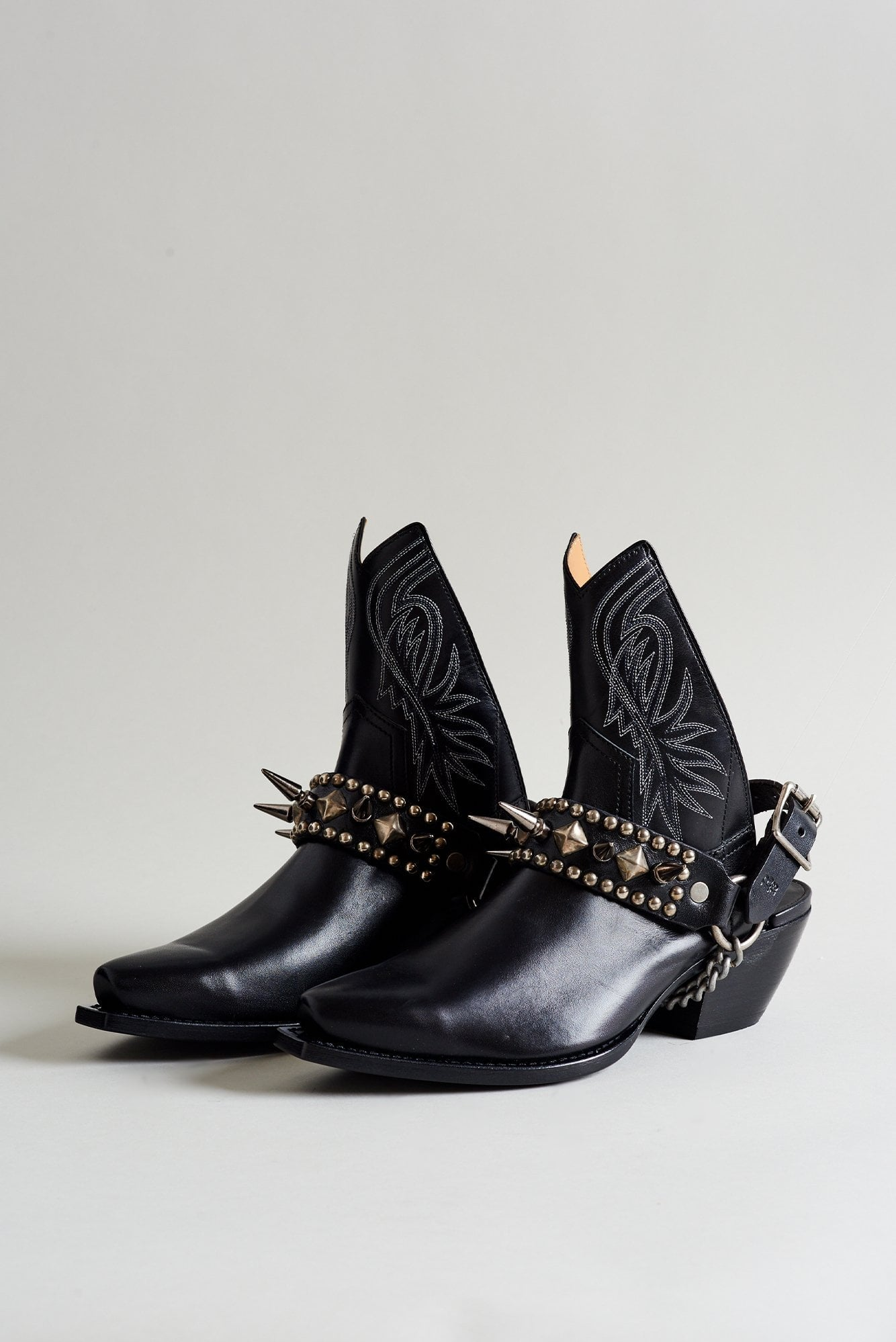 Half Ankle Cowboy Boot with Studded Harness