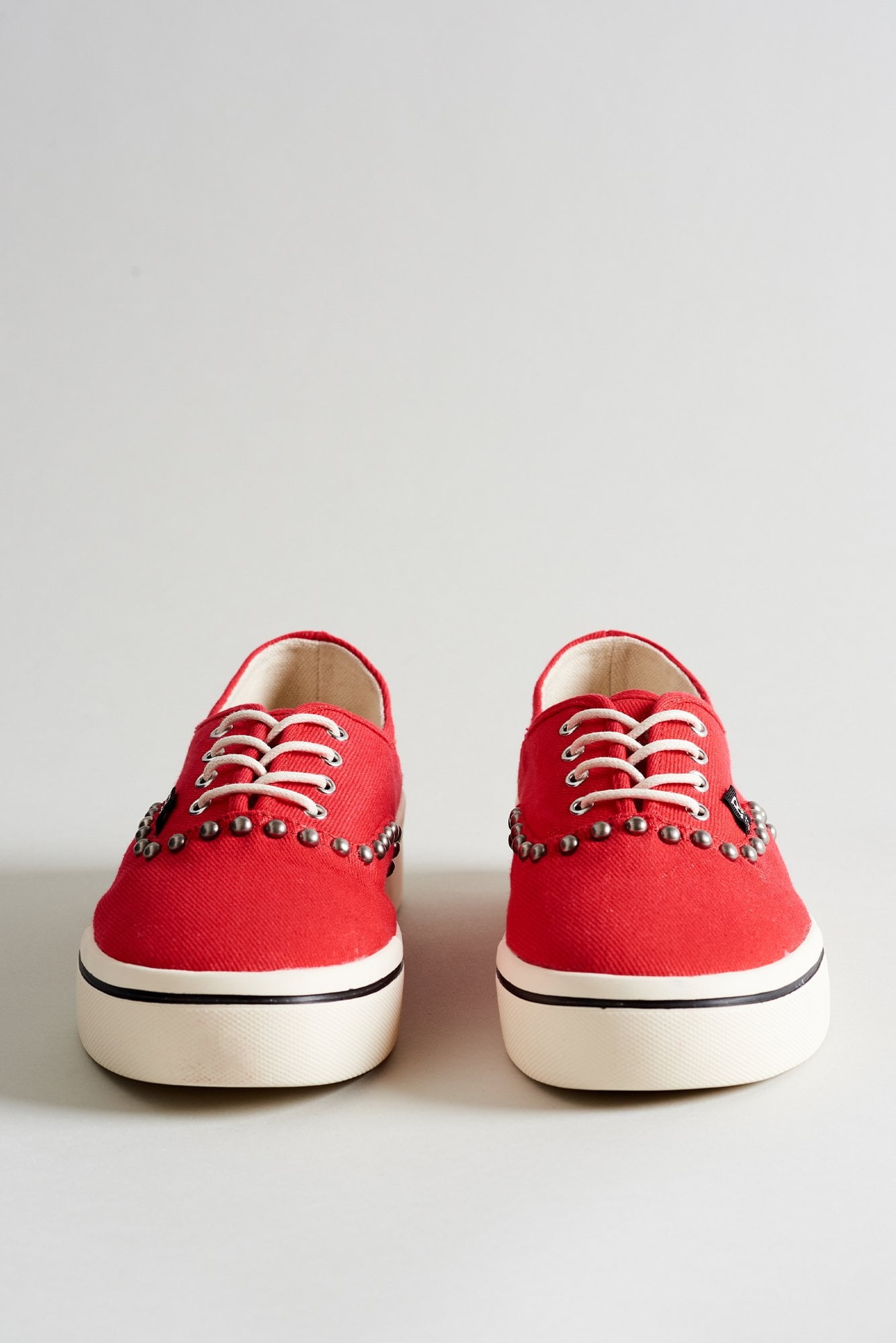 Lace Up Sneaker– Red Canvas with Studding