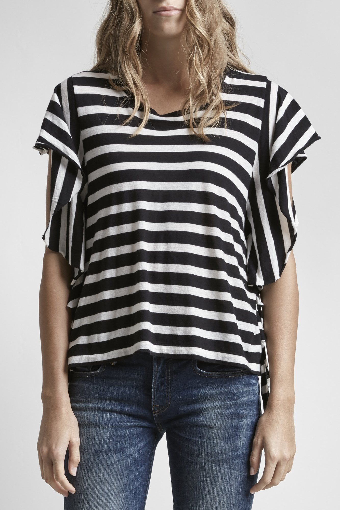 Striped Flutter T-Black w/ White