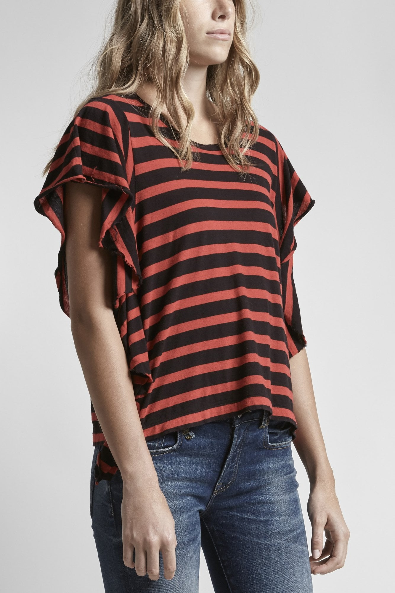 Striped Flutter T-Red w/ Black