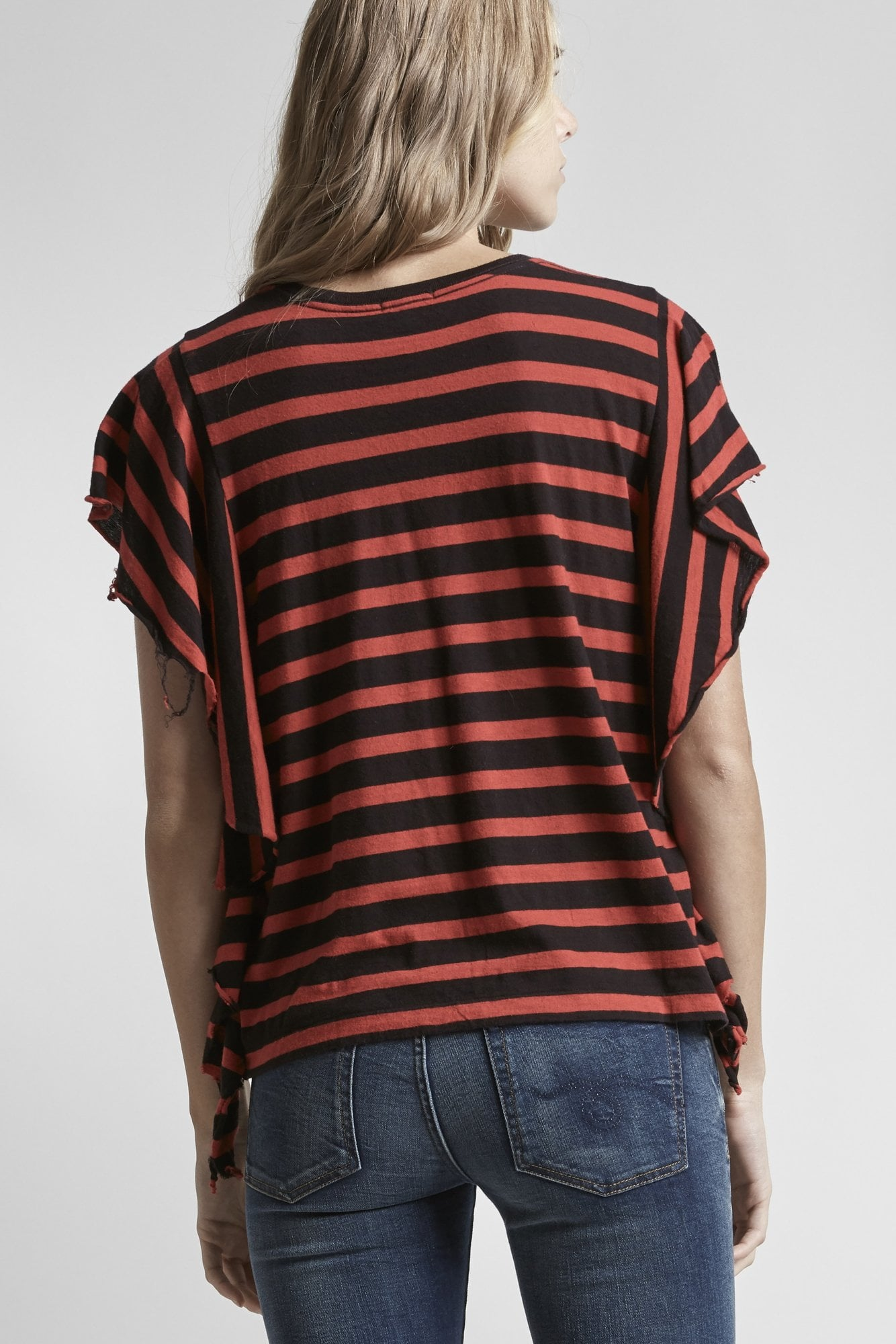 Striped Flutter T - Red w/ Black
