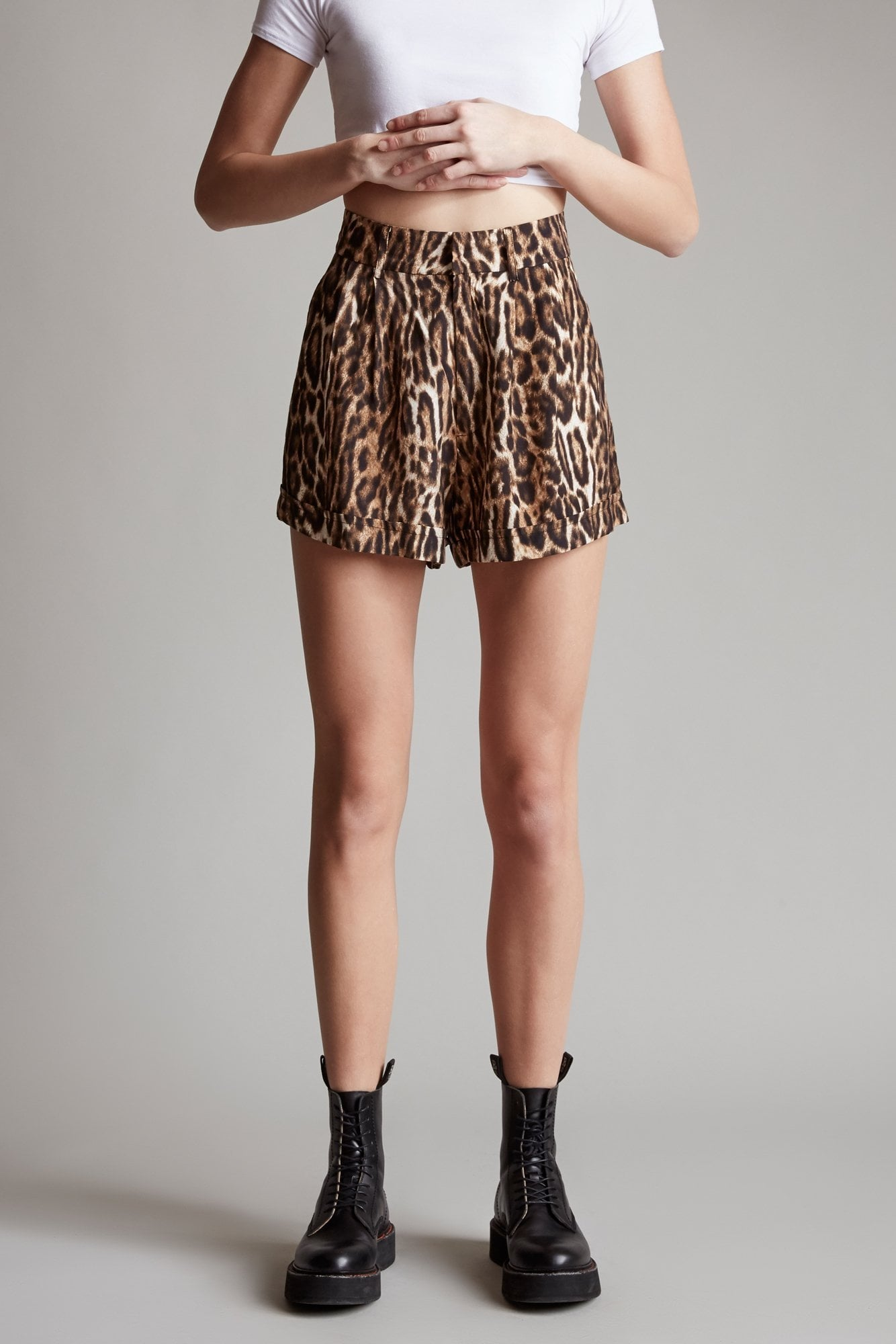 Pleated High-Rise Short – Leopard