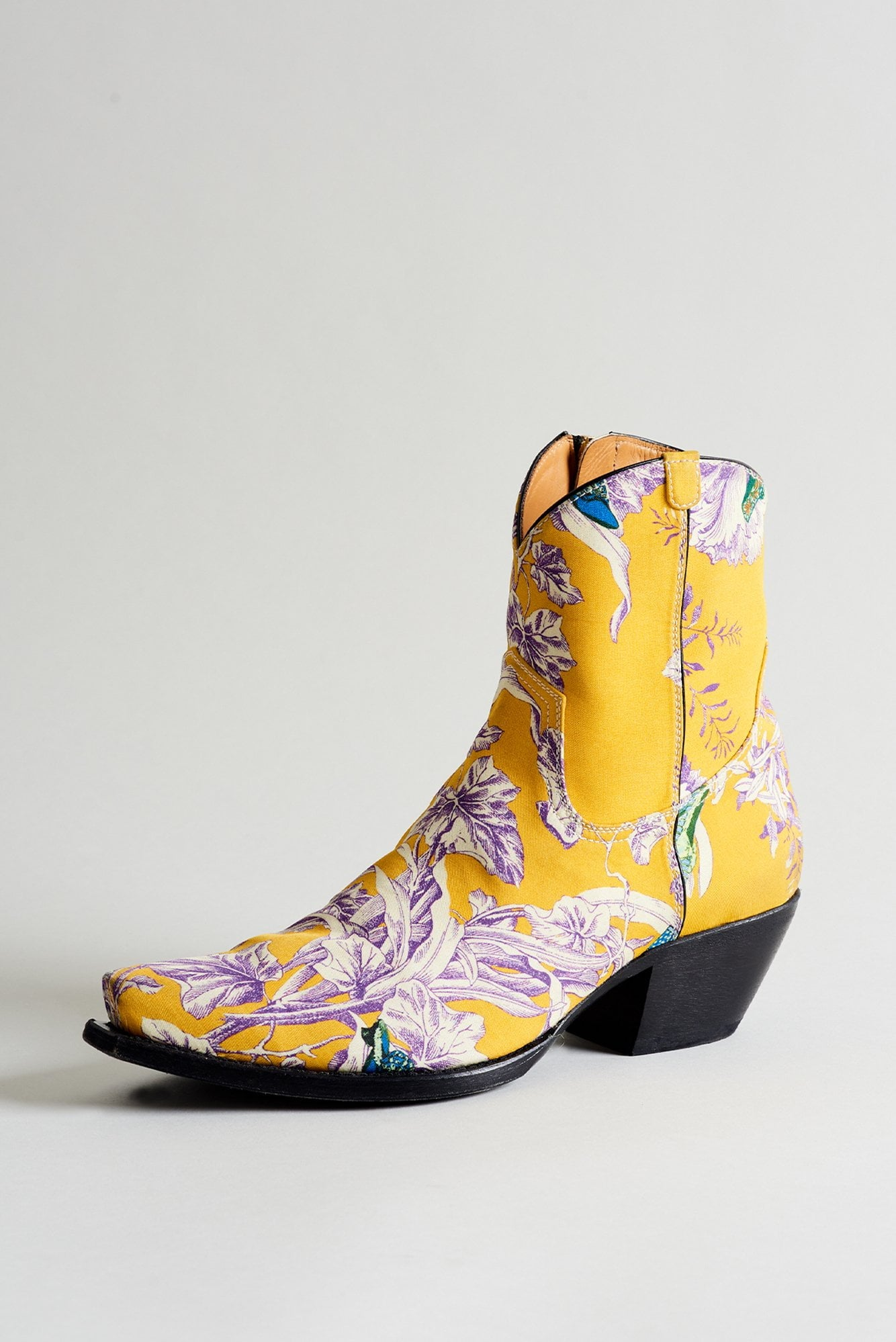 Yellow Floral Print Ankle Cowboy Boots