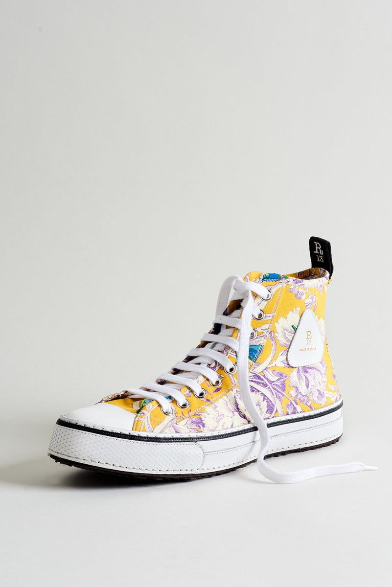 High Top Sneaker- Yellow Floral