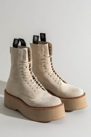 Suede Double Stack Lace-Up Boots