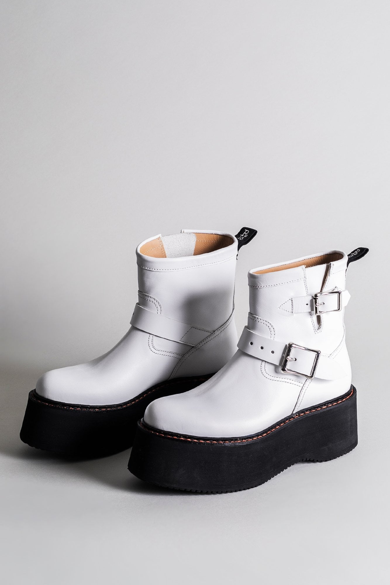 Double Stack Engineer Boot - White