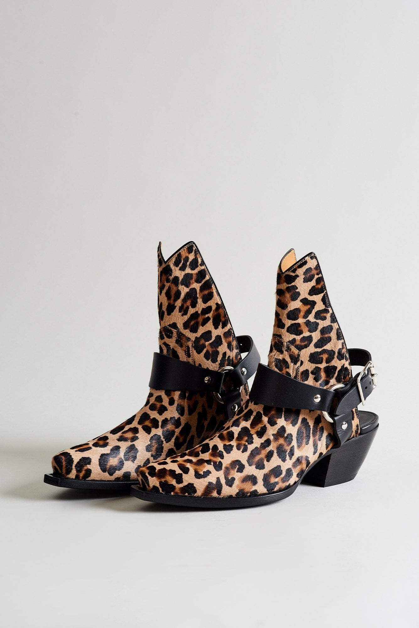 Half Ankle Cowboy Boot with Harness– Leopard