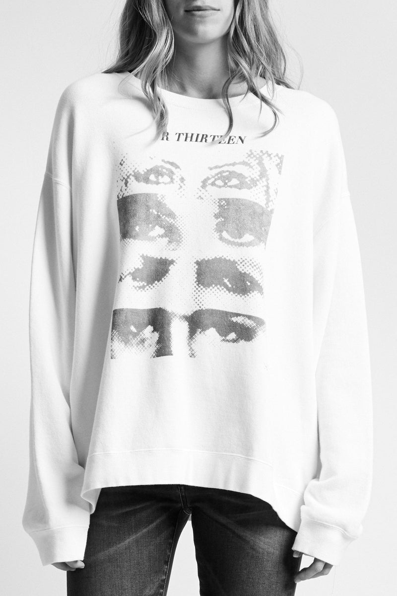 13 Eyes Crewneck Sweatshirt-White