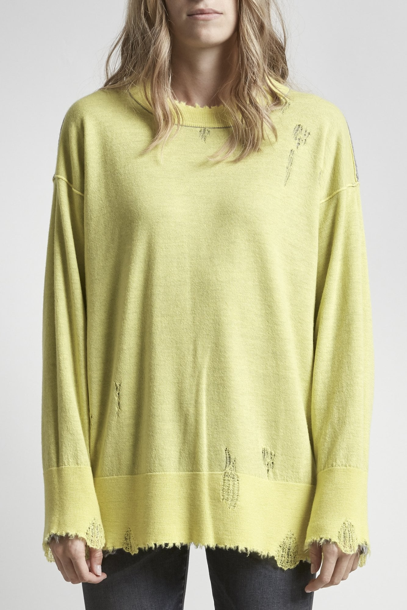 Reversible Crewneck Sweater-Heather Grey w/ Yellow