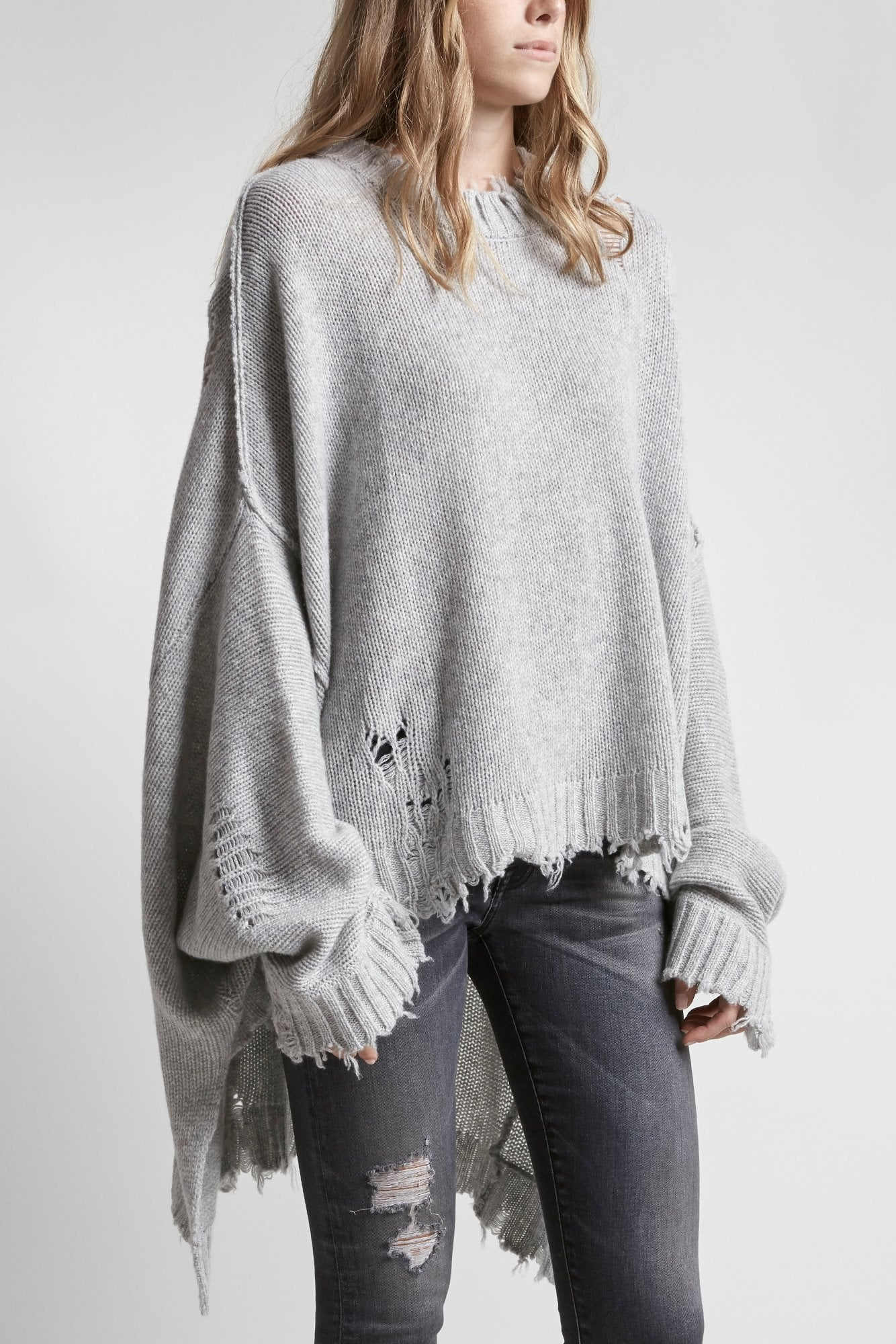 Distressed Cashmere Patti Sweater - Heather Grey