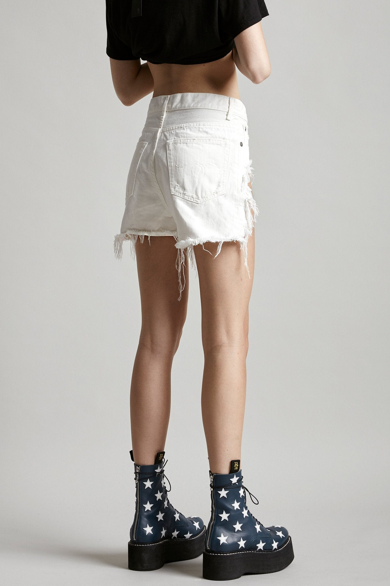 Shredded Slouch Short - White