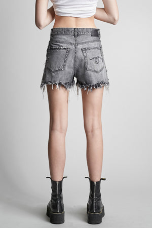 Shredded Slouch Short - Leyton Black