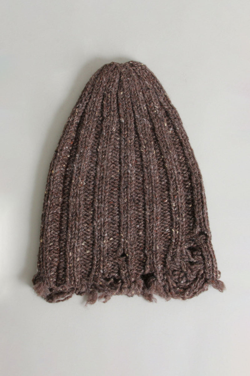 Distressed Chunky Hat - Brown