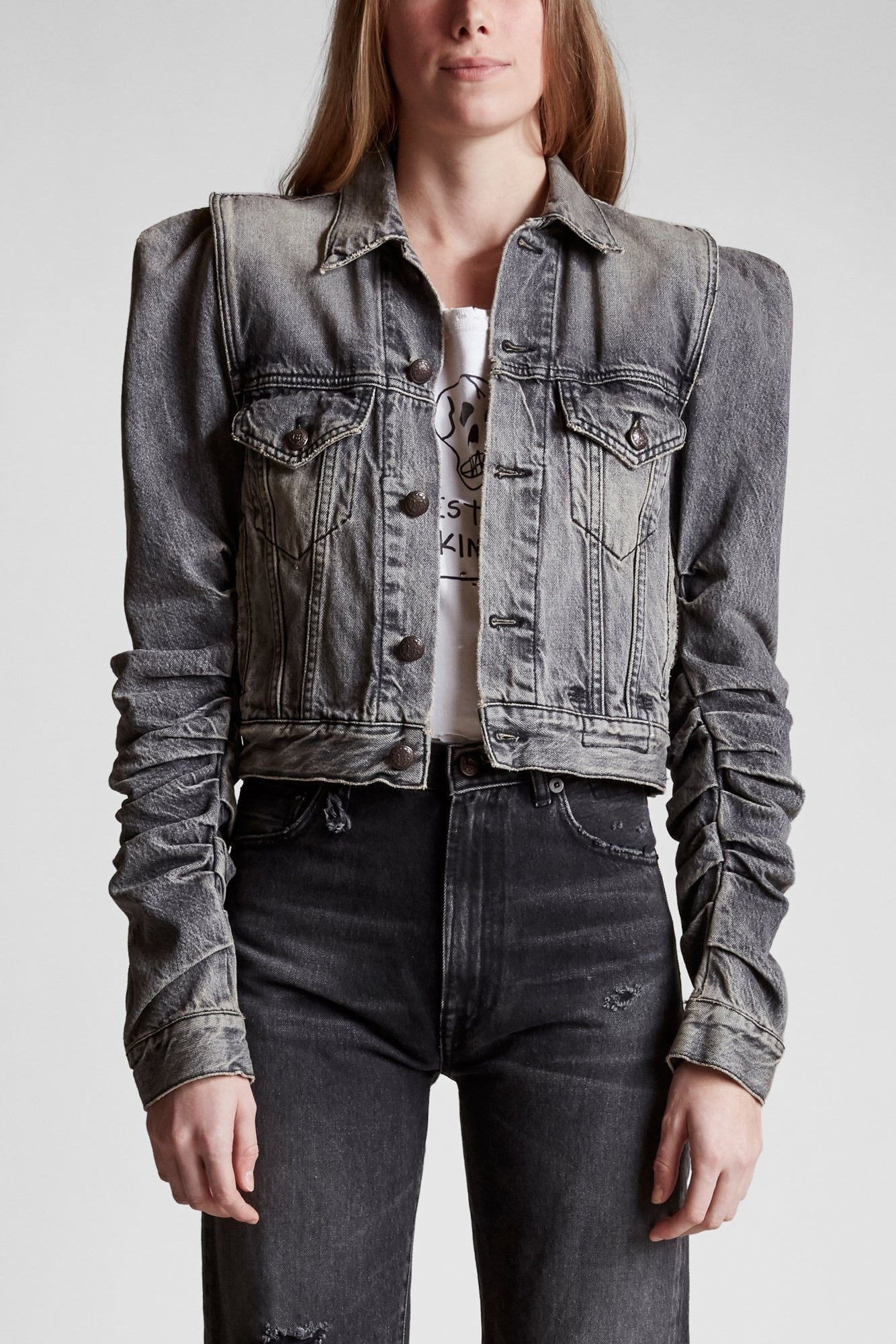 Kelsey Shirring Denim Jacket - Lena Grey