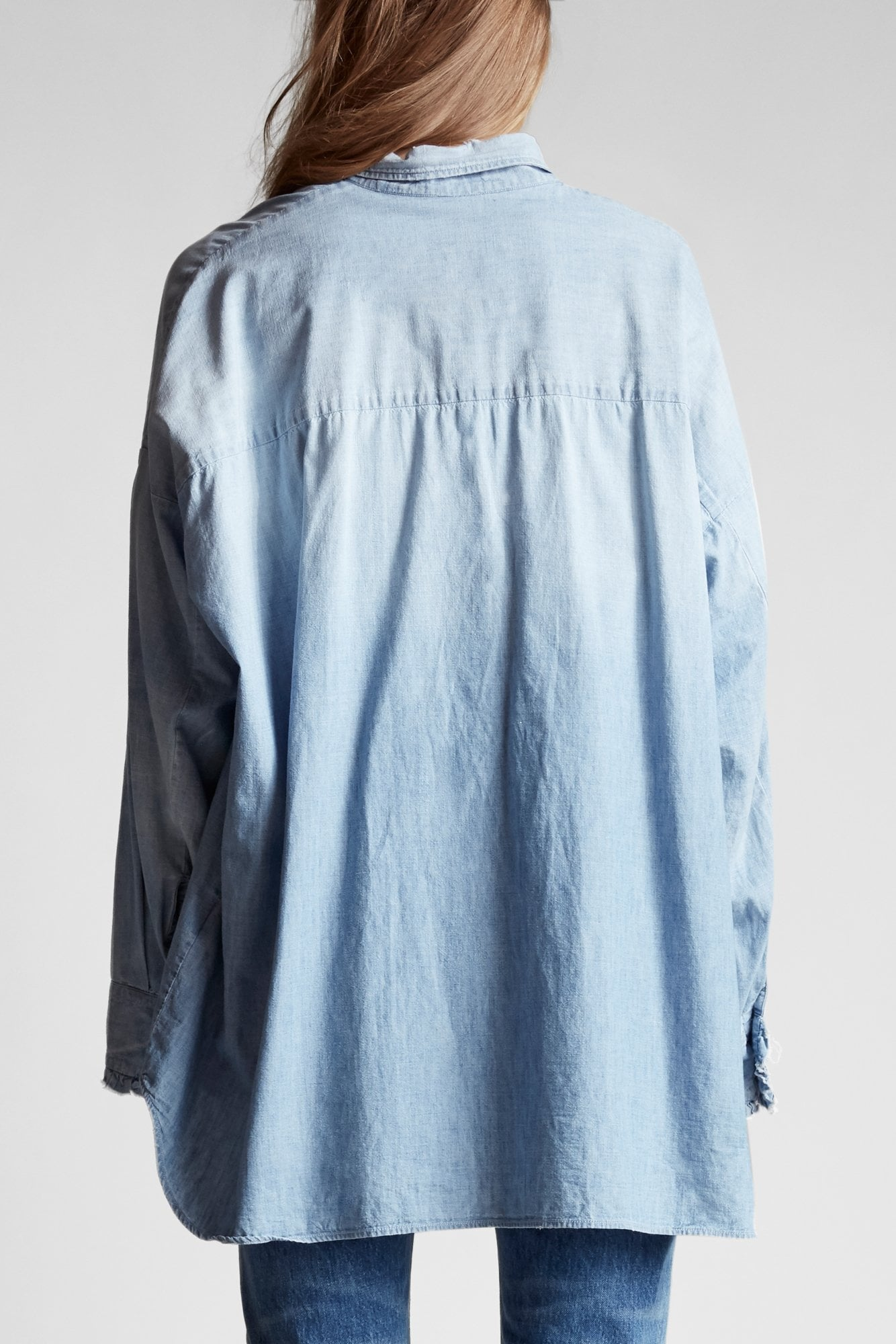 Drop Neck Tuxedo Shirt- Nell Blue