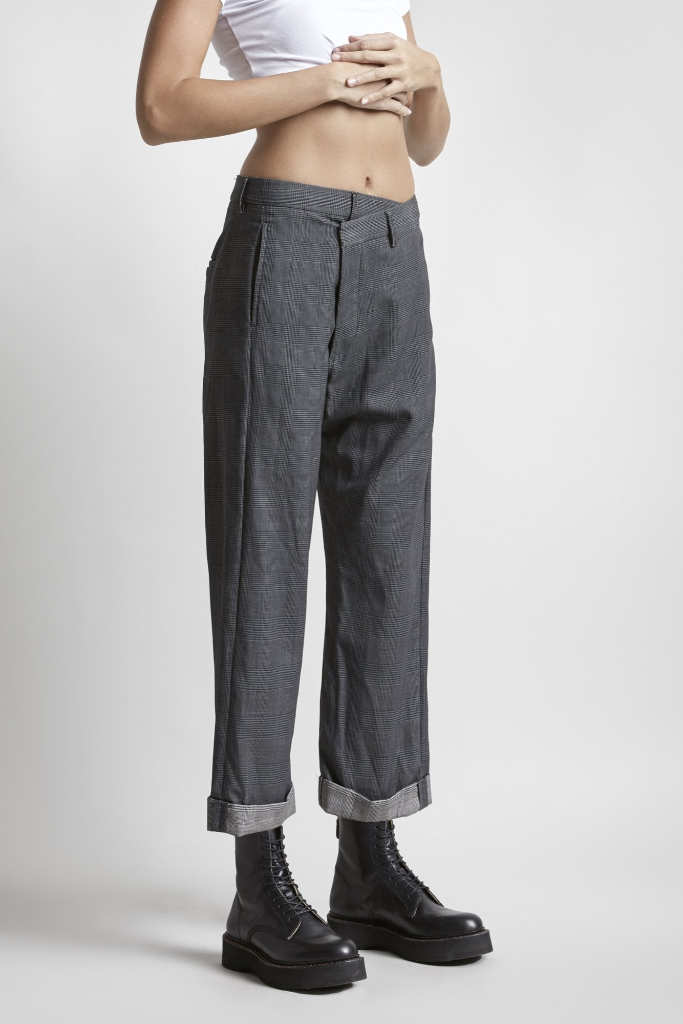 Crossover Trouser-Grey Check