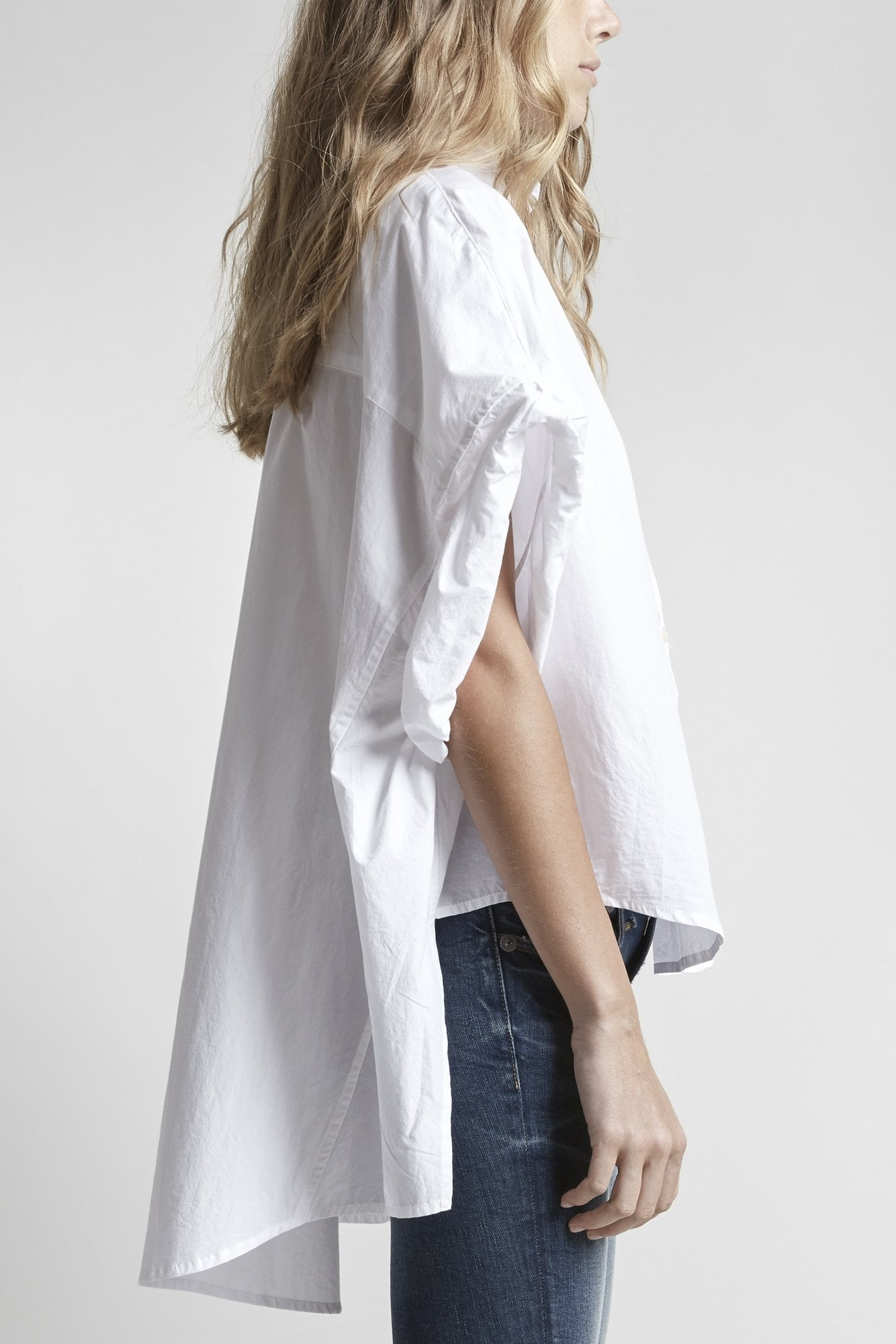 Oversized Rolled-Sleeve Shirt-White