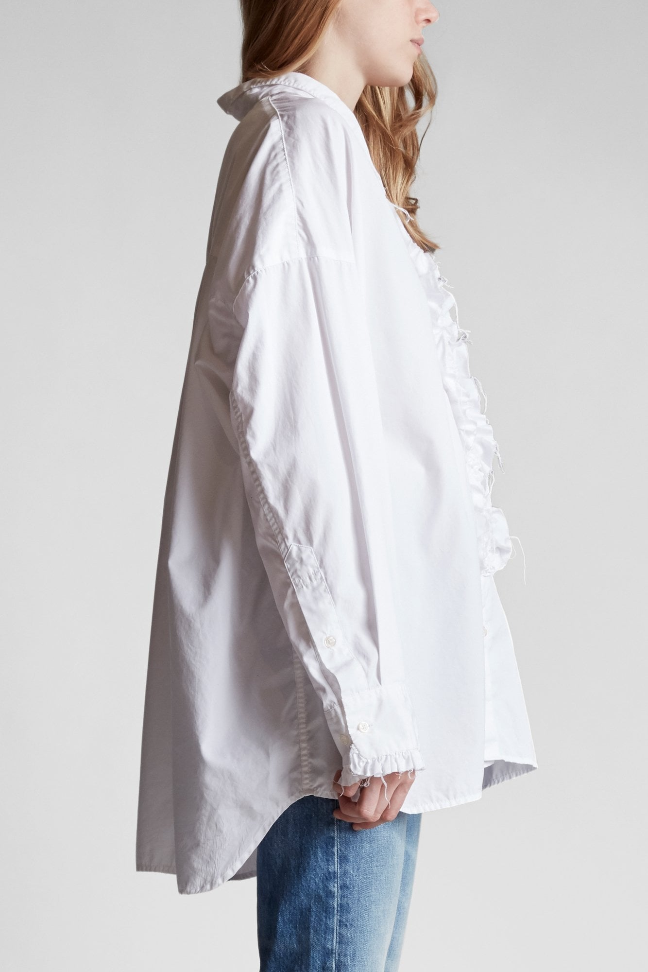 Drop Neck Tuxedo Shirt- White