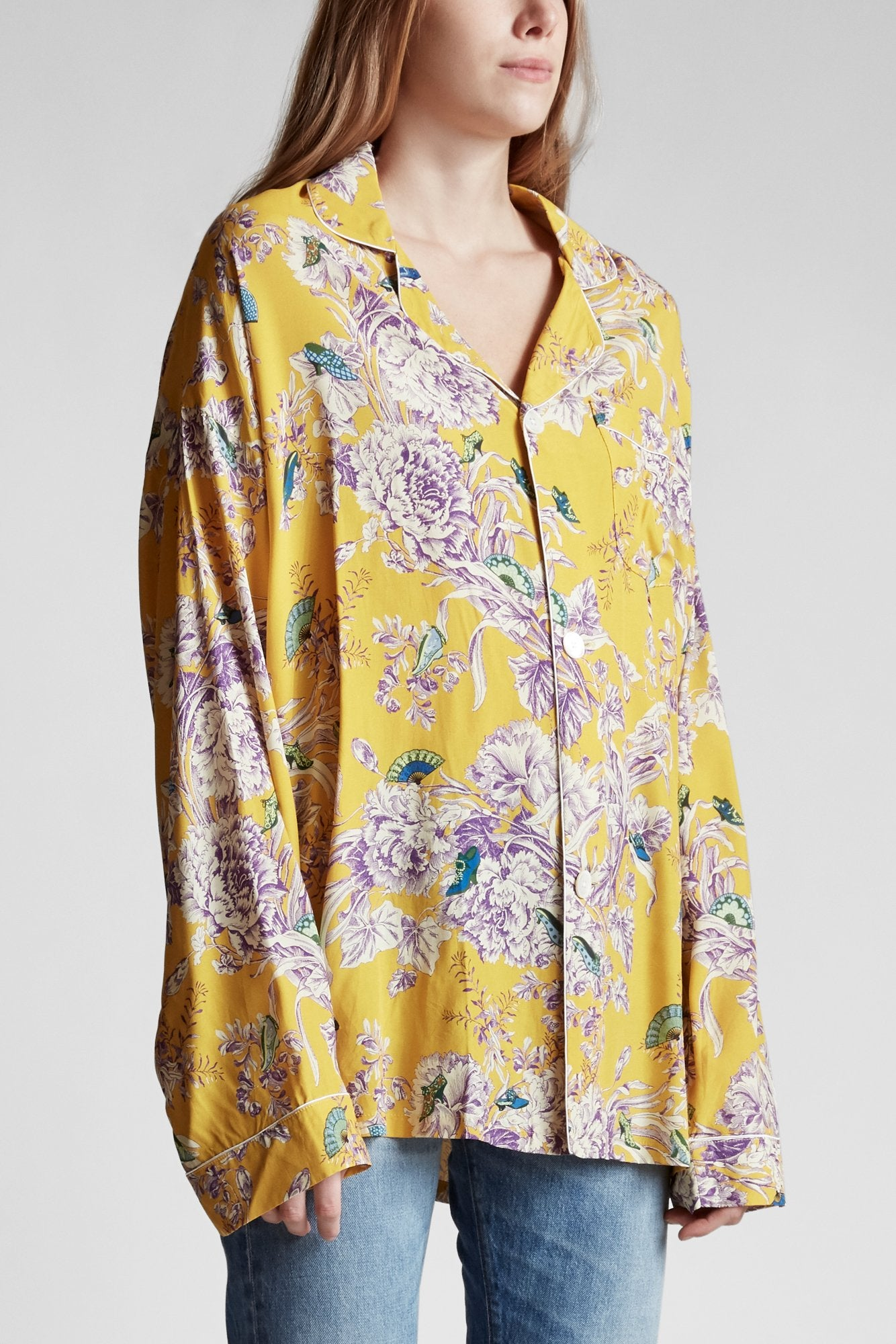 PJ Top- Yellow Floral