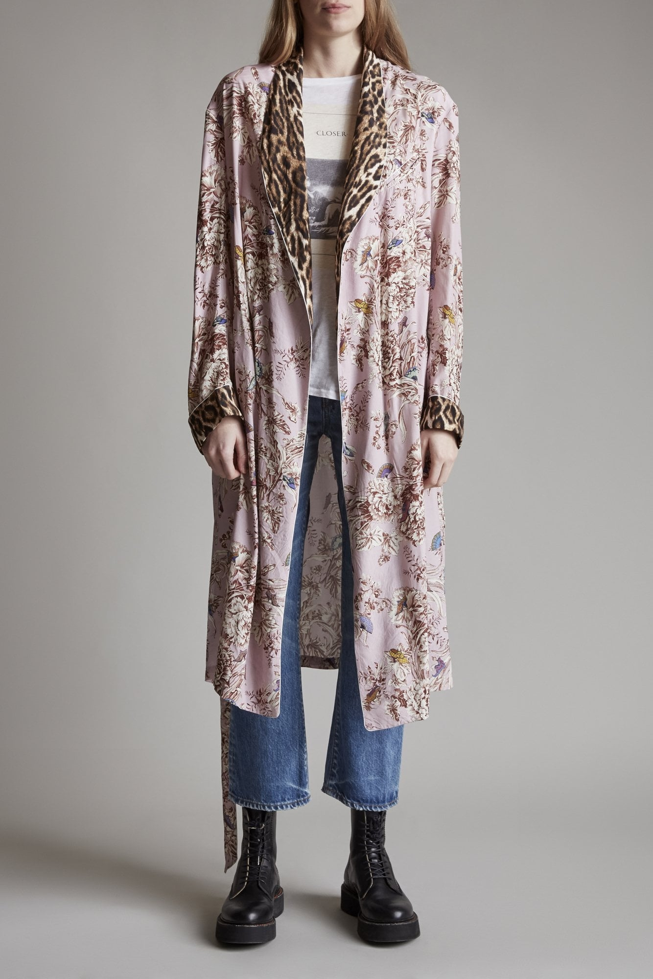 Smoking Robe with Piping- Pale Pink Floral with Leopard