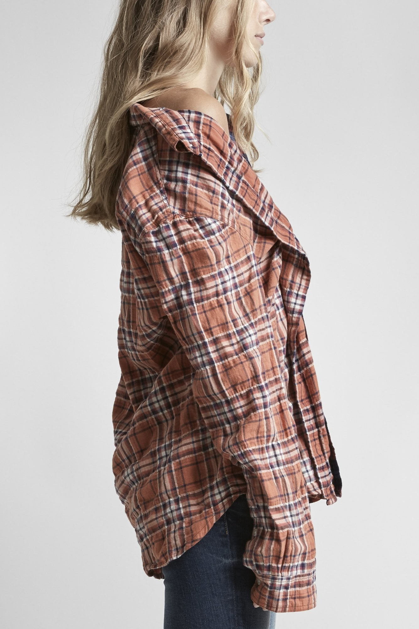 Off-Shoulder Plaid Combo Shirt - Maroon/Rust Plaid