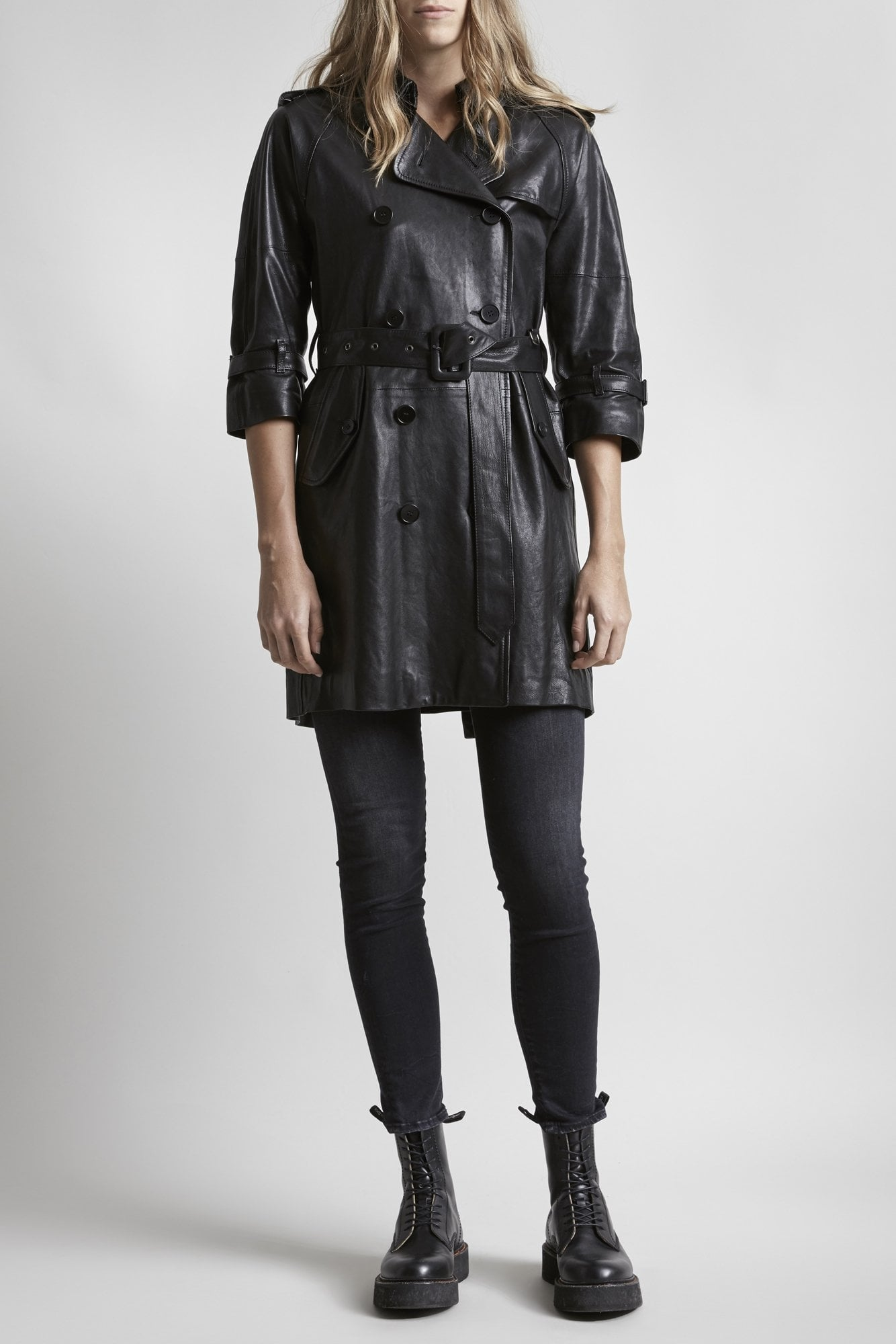 Leather 3/4 Sleeve Trench - Black
