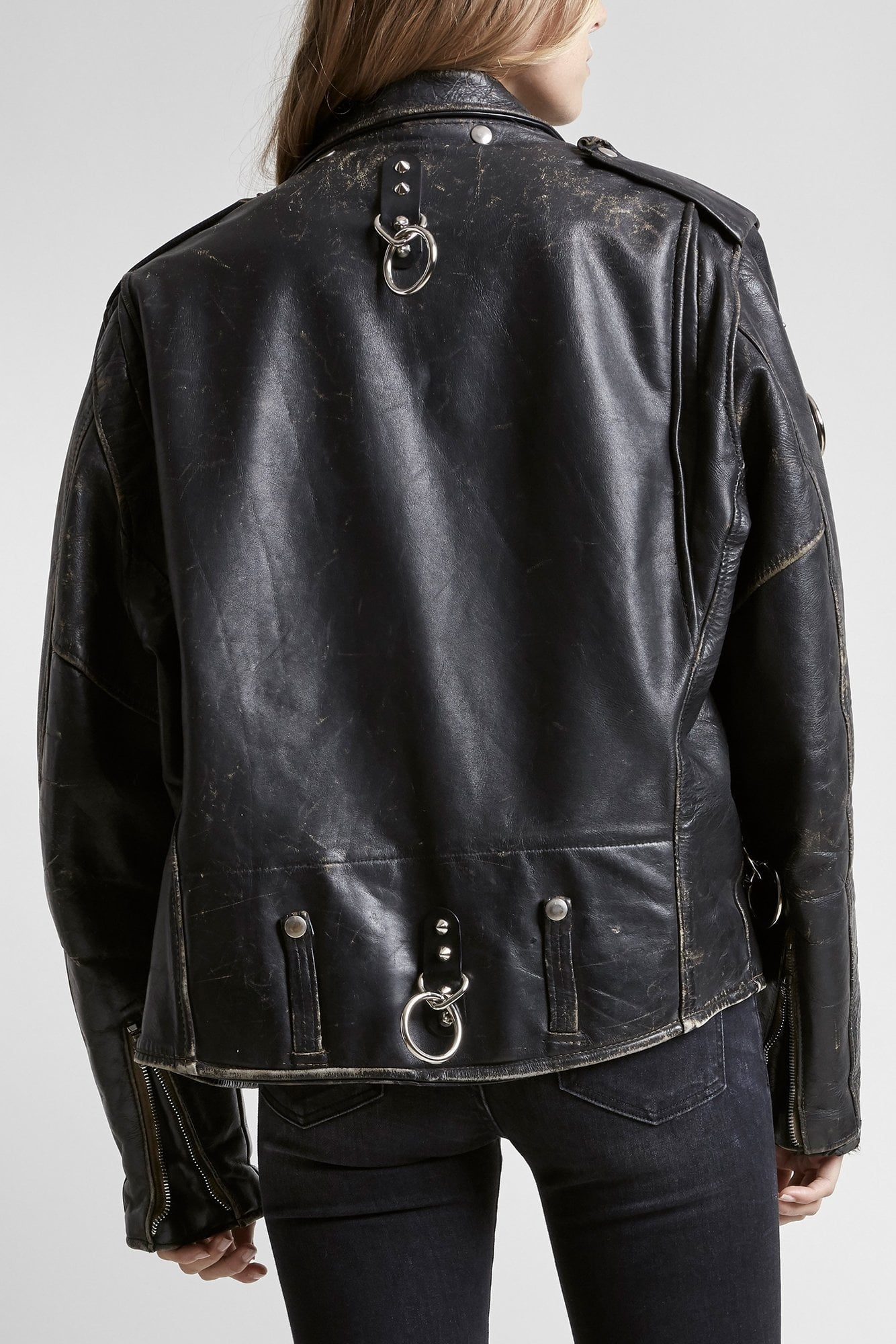 Refurbished Leather Jacket With Rings