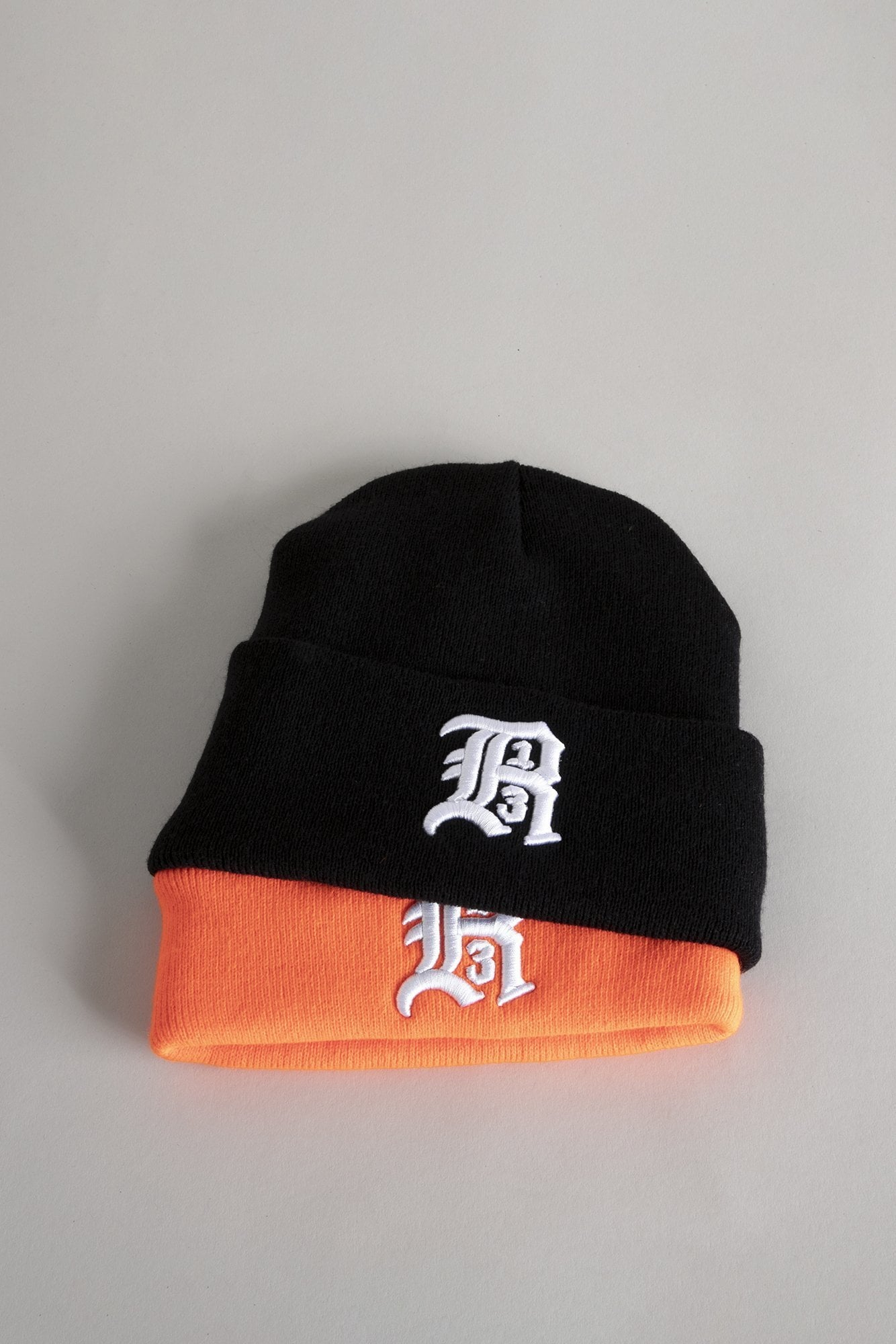 Double Beanie - Black and Orange