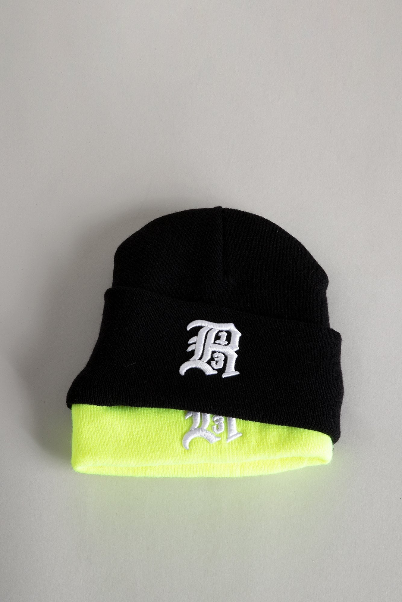 Double Beanie - Black and Yellow