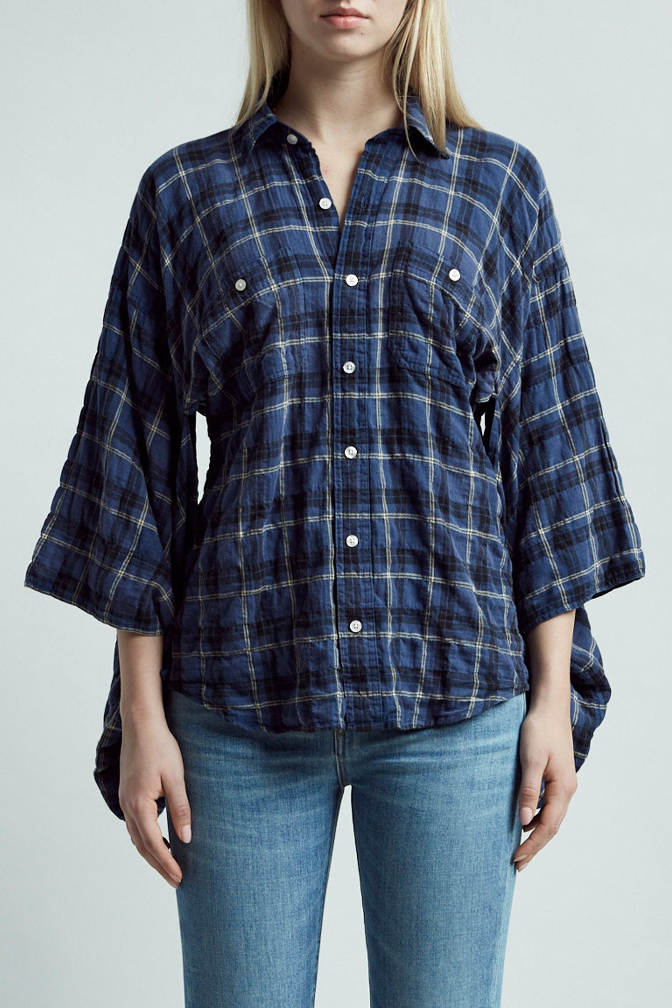 Kimono Shirt – Blue and Yellow Plaid