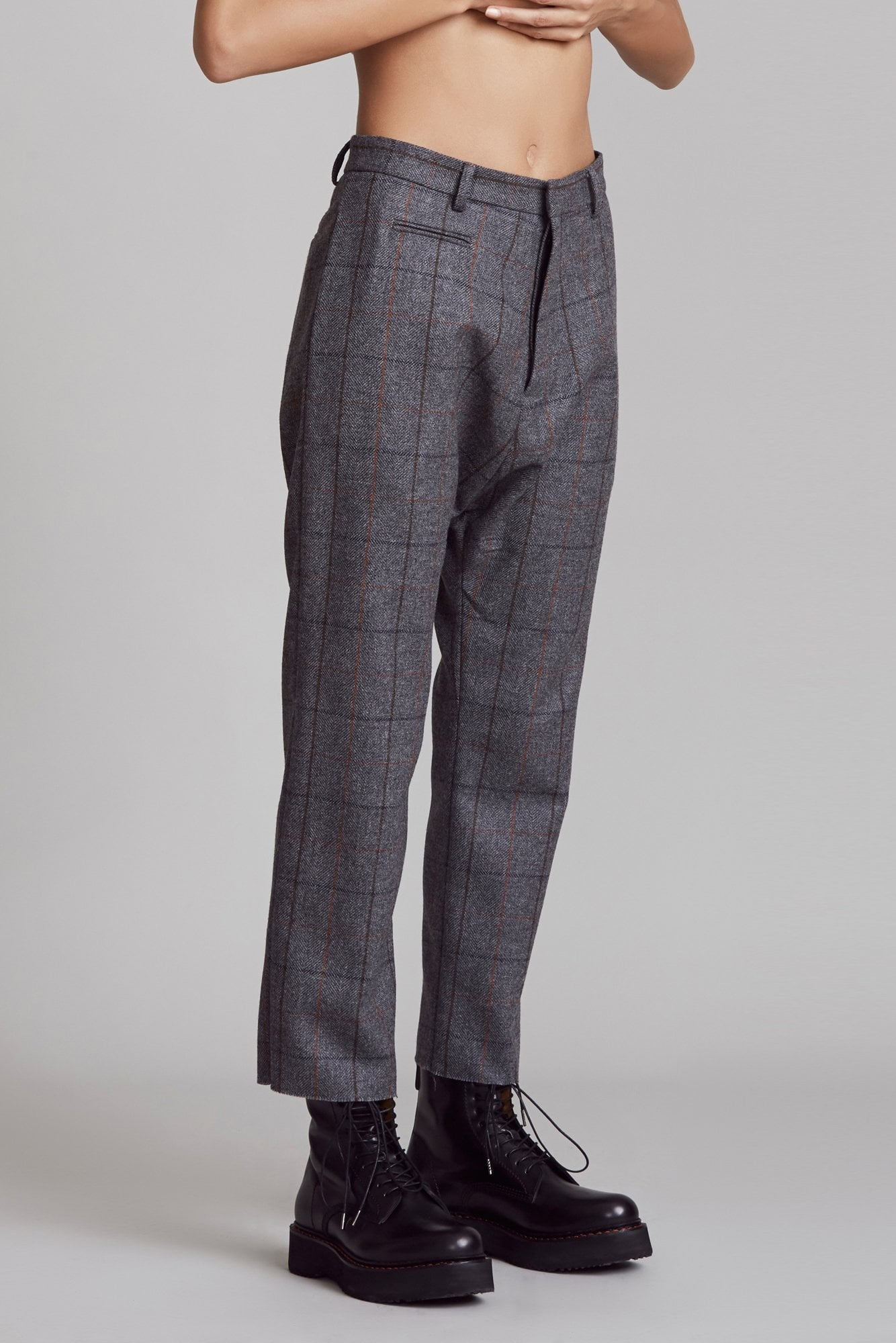 Tailored Drop Trouser - Grey Plaid