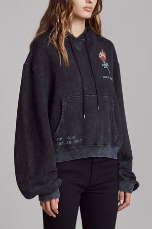 Flaming Rose Cropped Hoodie
