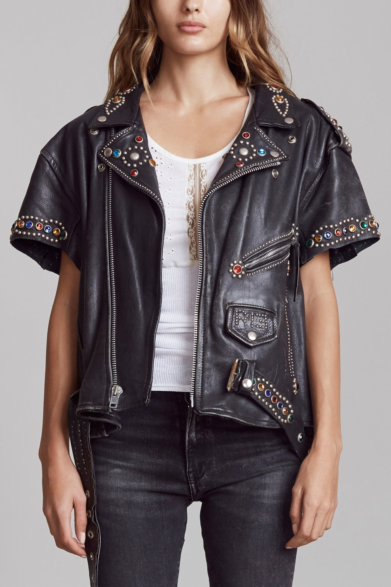 Short Sleeve Studded Leather Jacket